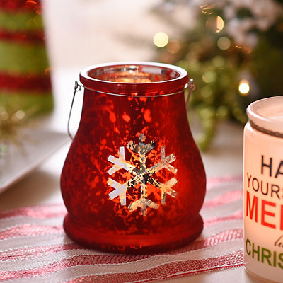 Snowflake Red Mercury Glass Lantern