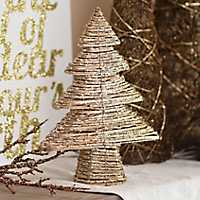 Gold Rattan Christmas Tree, 16 in.