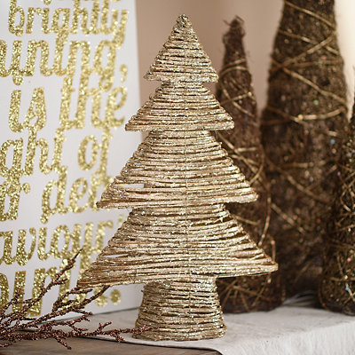 Gold Rattan Christmas Tree, 24 in.