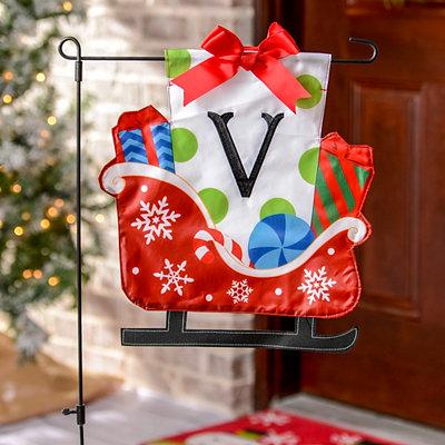 Monogram V Santa's Sleigh Flag Set