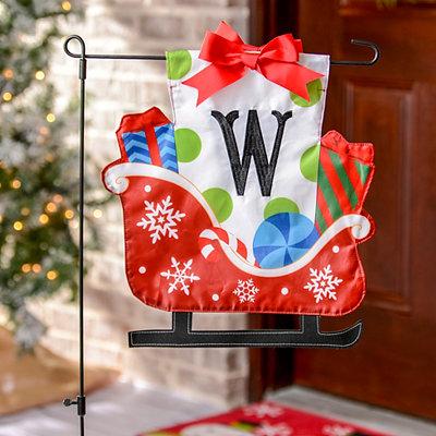 Monogram W Santa's Sleigh Flag Set