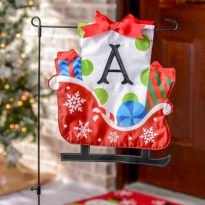 Monogram A Santa's Sleigh Flag Set