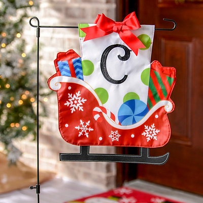 Monogram C Santa's Sleigh Flag Set