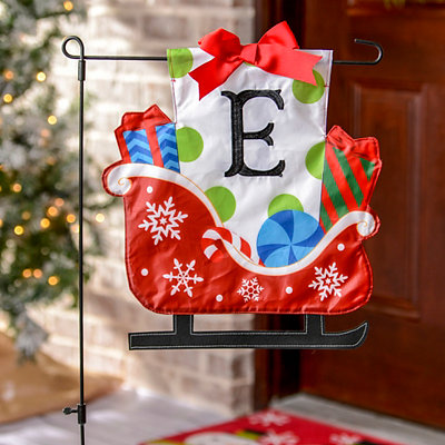 Monogram E Santa's Sleigh Flag Set