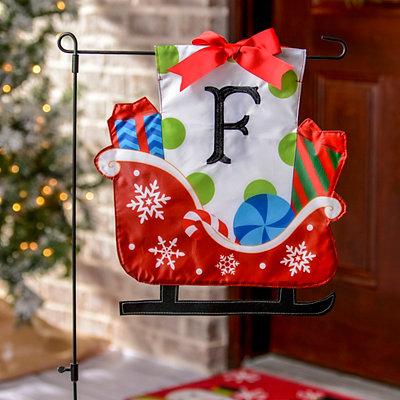 Monogram F Santa's Sleigh Flag Set