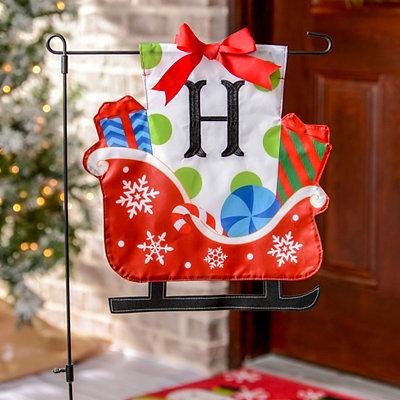Monogram H Santa's Sleigh Flag Set