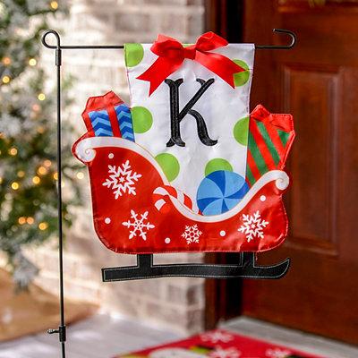 Monogram K Santa's Sleigh Flag Set