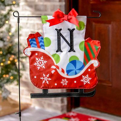 Monogram N Santa's Sleigh Flag Set