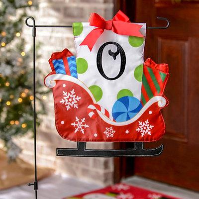 Monogram O Santa's Sleigh Flag Set