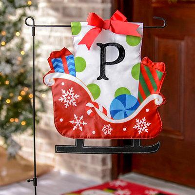 Monogram P Santa's Sleigh Flag Set