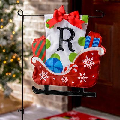 Monogram R Santa's Sleigh Flag Set