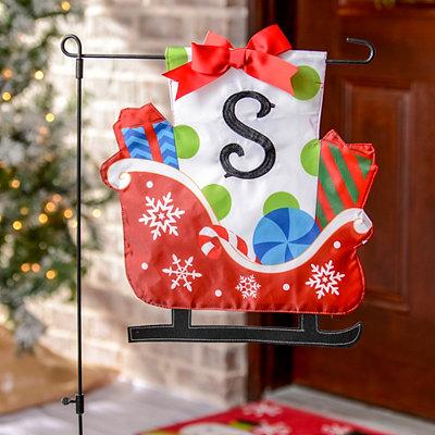 Monogram S Santa's Sleigh Flag Set