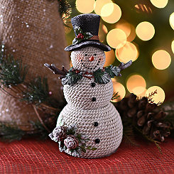 Top Hat and Pine Snowman Statue