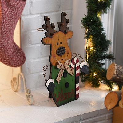 Rustic Reindeer Wooden Easel