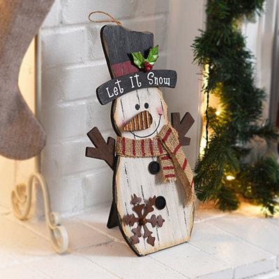Rustic Snowman Wooden Easel
