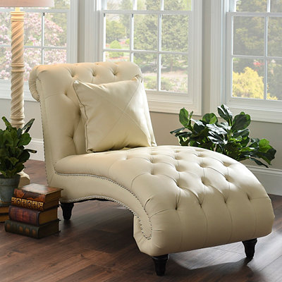 Cream Leather Chaise Lounge