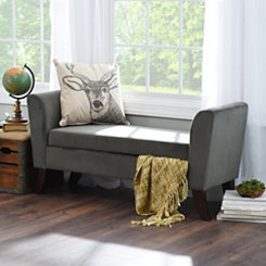 Bella Pewter Upholstered Storage Bench