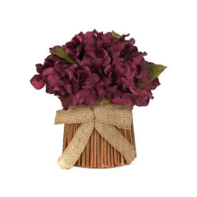 Burgundy Hydrangea Stack with Burlap Bow