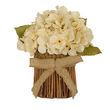 cream hydrangea stack with burlap bow - Flower Decorations