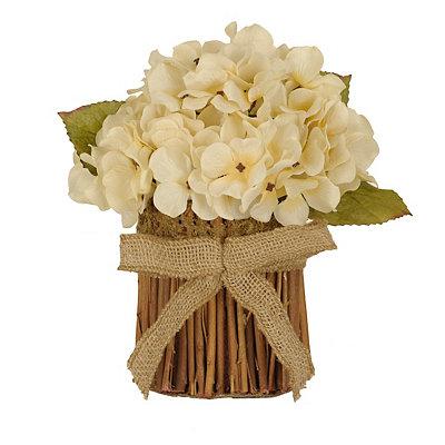Cream Hydrangea Stack with Burlap Bow
