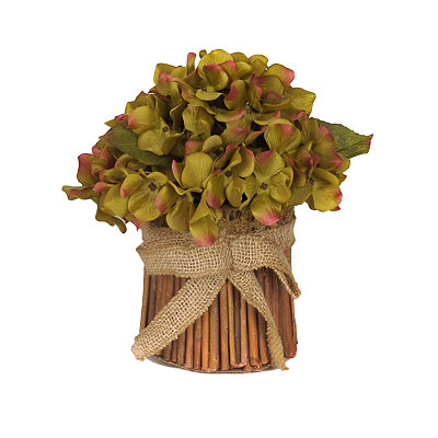 Light Green Hydrangea Stack with Burlap Bow