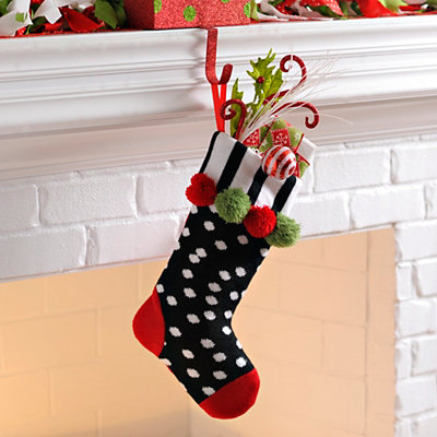 Black & White Polka Dot Pom Pom Knit Stocking