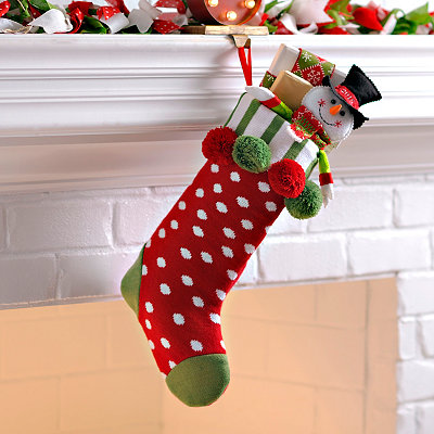 Red & White Polka Dot Pom Pom Knit Stocking