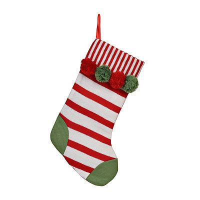 Red Stripe Pom Pom Knit Stocking