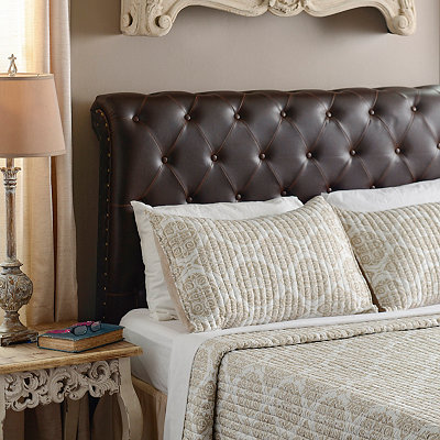 Rich Espresso Faux Leather Tufted King Headboard