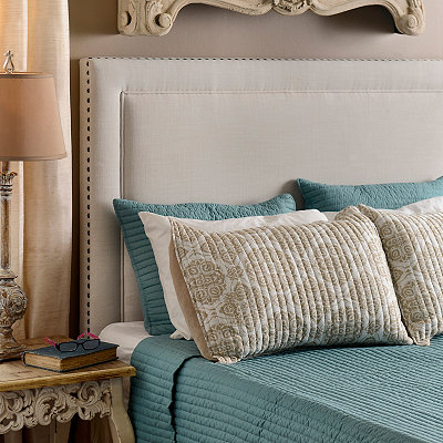 Upholstered White Nailhead Queen Headboard