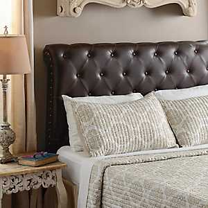 Rich Espresso Faux Leather Tufted Queen Headboard