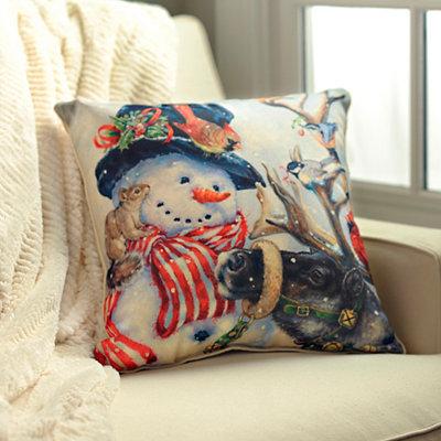Snowman and Friends Pillow