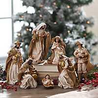 Antique Gold and Burlap Nativity Scene