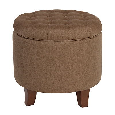 Otter Button-Tufted Round Storage Ottoman