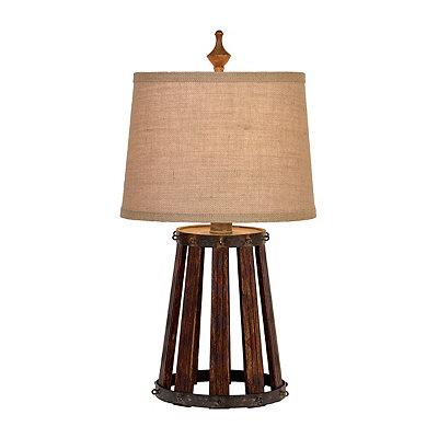 Rustic Open Barrel Table Lamp