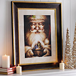 Santa with Nativity Snow Globe Framed Art Print