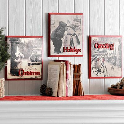 Vintage Black & White Christmas Plaques, Set of 3