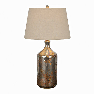 Black and Copper Smoke Glass Table Lamp