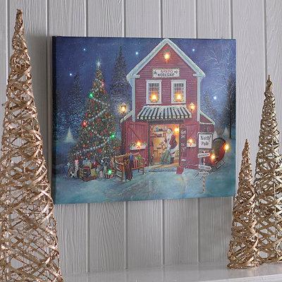 Santa's Workshop LED Canvas Art Print