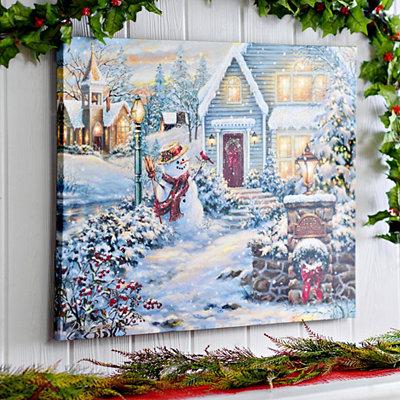 Winter in the Neighborhood LED Canvas Art Print