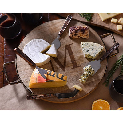 Wood and Iron Monogram Cheese Tray