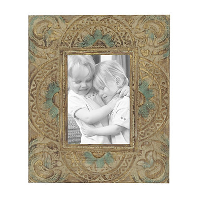 Carved Natural Wooden Picture Frame, 5x7