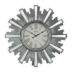 Antique Silver Mirrored Sunburst Clock