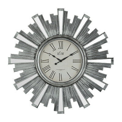 Antique Silver Mirrored Sunburst Clock