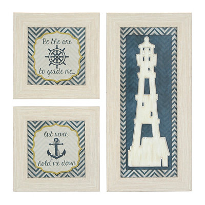 Coastal Lighthouse Shadowboxes, Set of 3