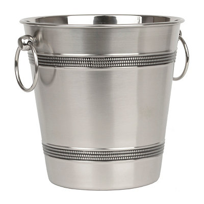 Silver Beaded Metal Ice Bucket