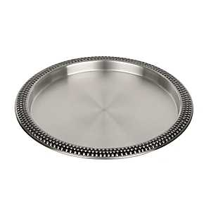 Silver Beaded Metal Bar Tray