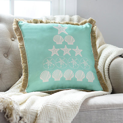 Turquoise Seashell Tree Pillow