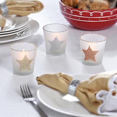 Metallic Glitter Star Tealight Holders, Set of 3