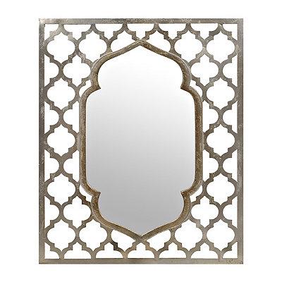 Cutout Silver Quatrefoil Mirror, 27x32